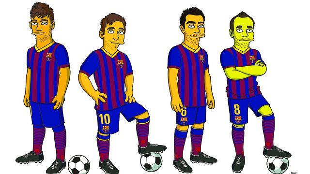 Los cracks del FC Barcelona se unen a la familia de los Simpsons