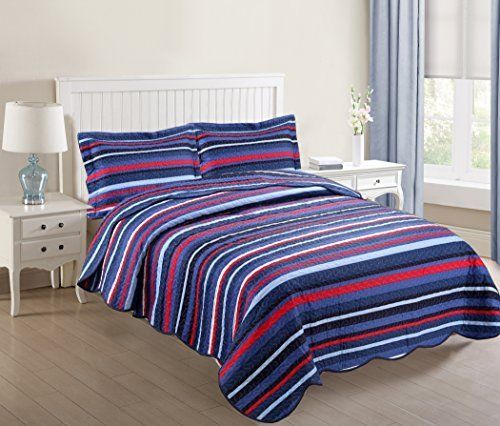3 PCS Bedspread Quilts Full Set Blanket Throw Pillowcases Coverlet Bedding Strip #MarCielo