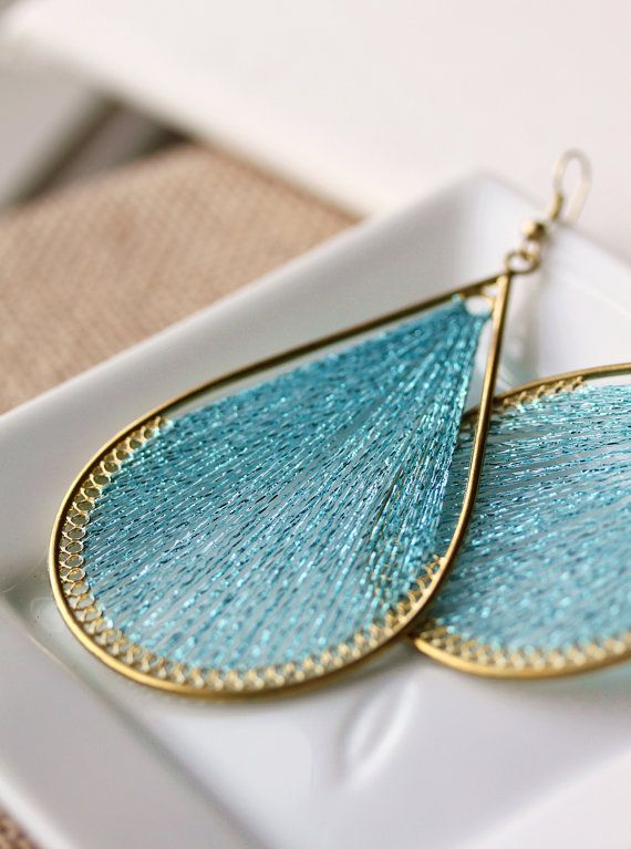 String Wire Wrapped Thread Earrings,Handmade Thread Woven Earrings,String Art Earrings,Blue,Gift for Her, Gift under 15
