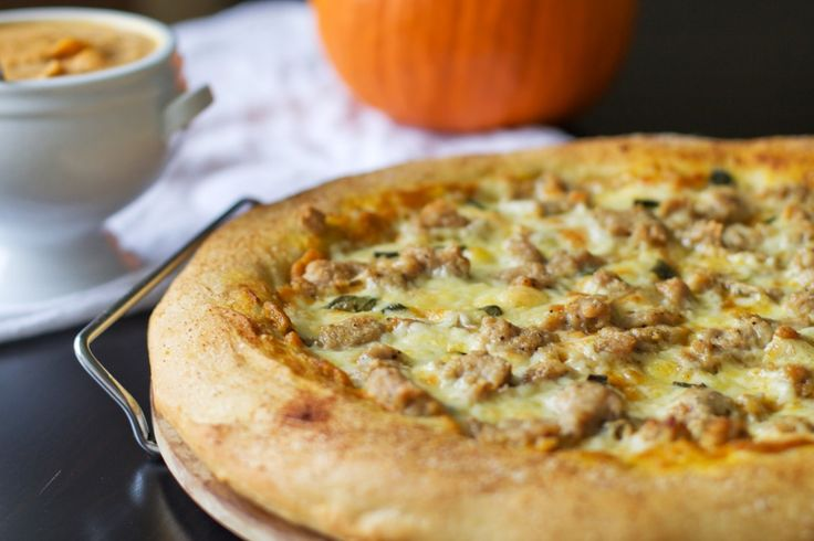 Pumpkin sage and spicy sausage pizza. DE-LICIOUS! Used Italian sweet sausage instead of spicy sausage. Go easy on the garlic salt and don't put on too much sausage!