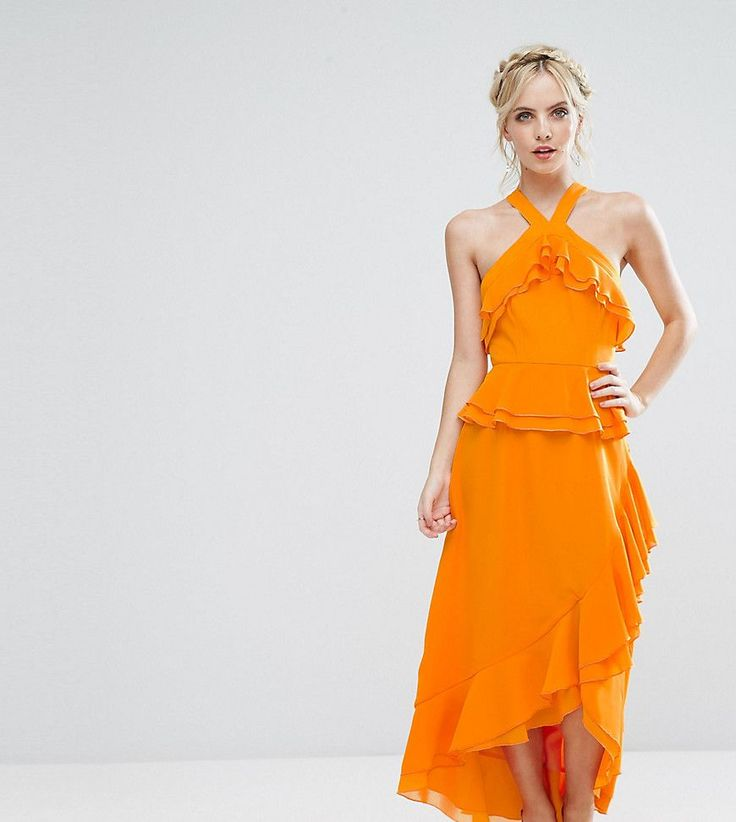 Get this True Decadence Petite's long dress now! Click for more details. Worldwide shipping. True Decadence Petite Halterneck Ruffle Maxi Dress - Orange: Petite dress by True Decadence Petite, Lined woven fabric, Halter neck, Ruffle detailing, Wrap skirt, Asymmetric hem, Regular fit - true to size, Hand wash, 100% Polyester, Our model wears a UK 8/EU 36/US 4, Exclusive to ASOS. True Decadence is a trend-led label, who take their influences straight from the catwalk. True Decadence Petite…