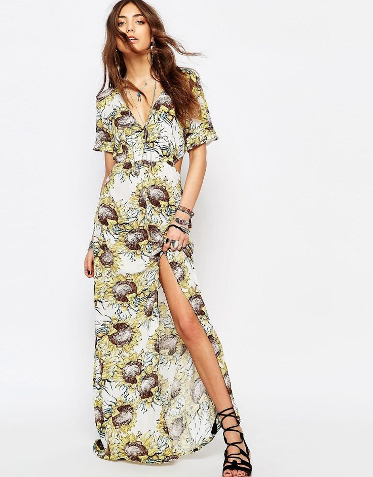 Image 1 ofYoung Bohemians Maxi Dress With Frill Sleeves In Floral