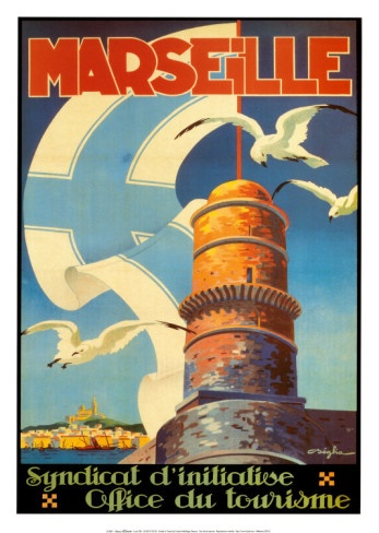 Vintage Travel Poster - France - Marseille. Lighthouse.***Research for possible future project.
