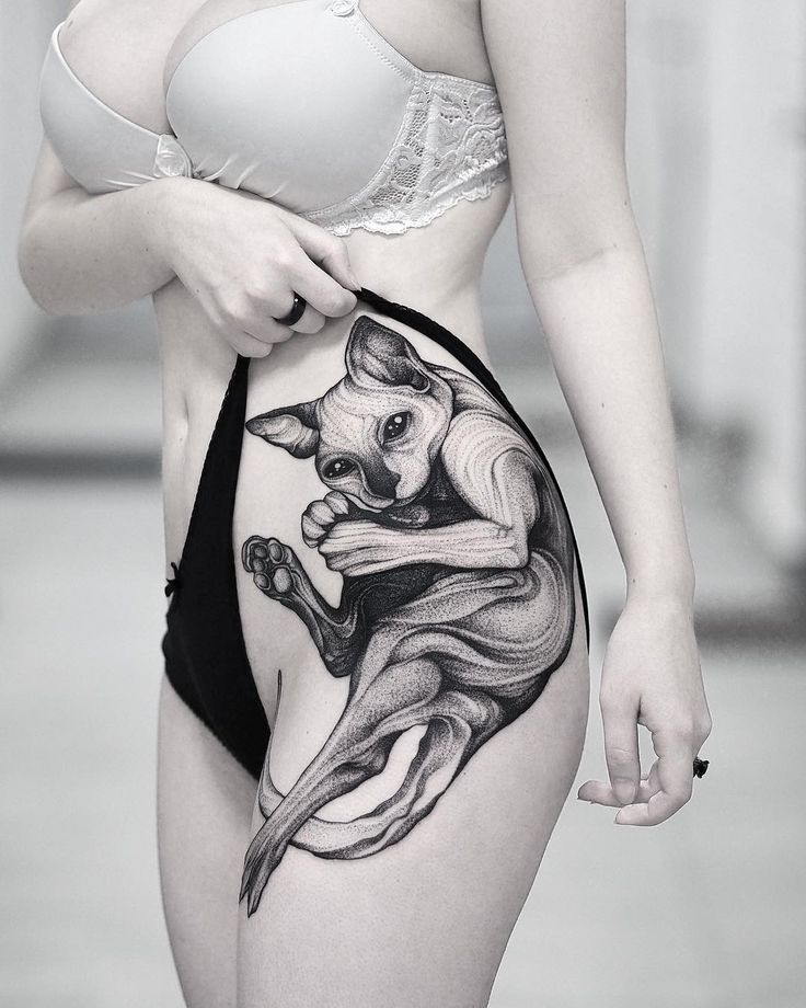 Sphynx Cat tattoo on hip by @wpkorvis