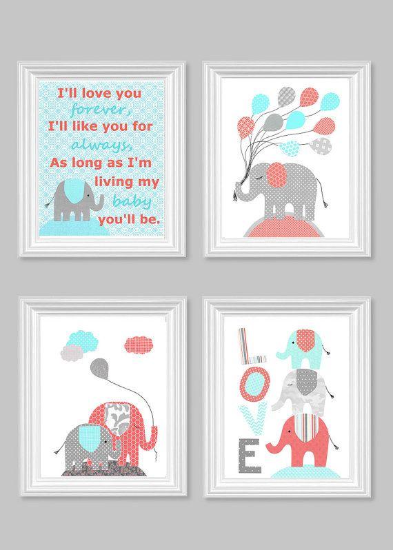 Elephant Nursery Art I'll Love You Forever by SweetPeaNurseryArt
