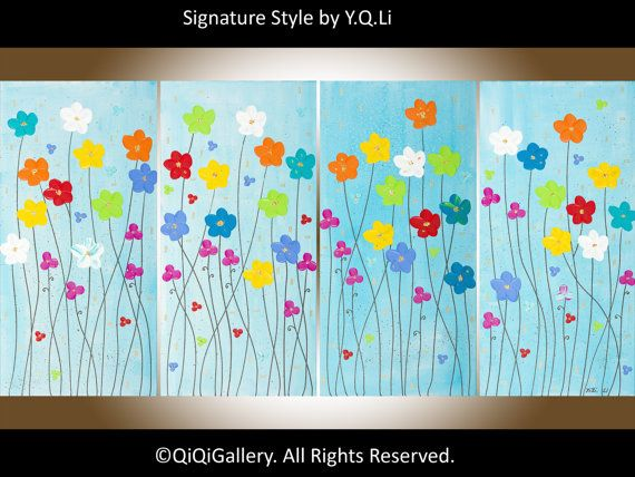 Flowers painting oil painting wall decor wall art di QiQiGallery