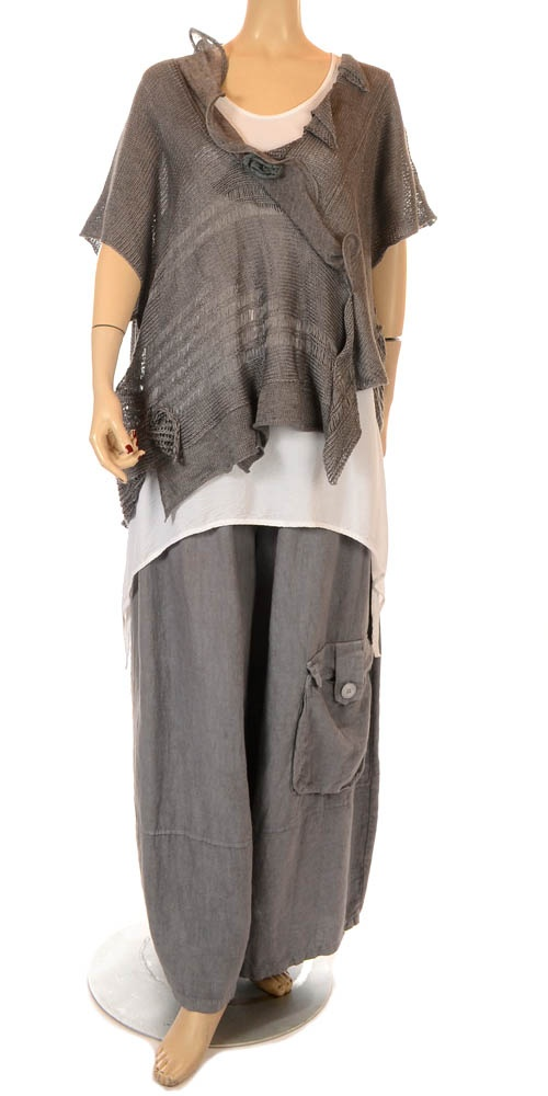 Zuza Bart Beautiful Grey Linen Rose Knit - Summer 2013-Zuza Bart, lagenlook, womens UK clothing