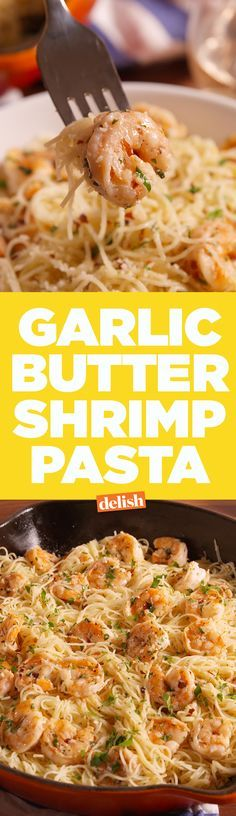 No one can resist this Garlic Butter Shrimp Pasta. Get the recipe on Delish.com. (Video)