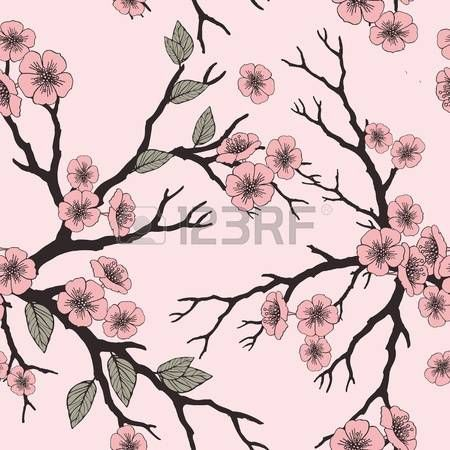 Vector seamless background with sakura blossoms and folliage. Black white outlined illustration. -8