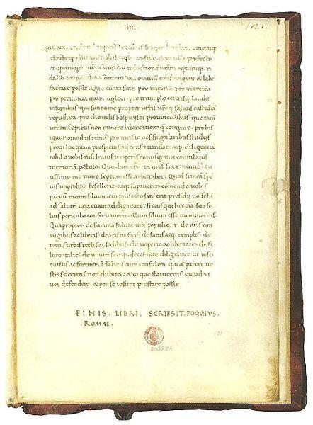 Poggio trascrive Cicerone.jpg  Uno dei primi esempi di Littera Antiqua.