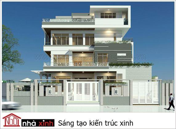 Biệt thự đẹp hiện đại | 4 tầng | 3 mặt tiền | BTNNX070 - biet thu,thiet ke biet thu, biệt thự đẹp