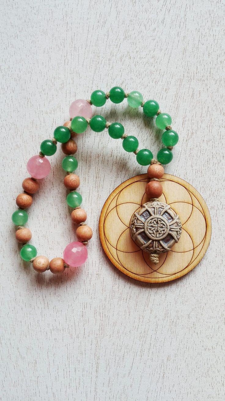 Celtic Cross Prayer Beads, Green Aventurine Prayer Beads, Rose Quartz & Rosewood Prayer Beads, 33 Bead Chotki, Anglican Prayer Beads, Rosary by MysticKeyMeditations on Etsy