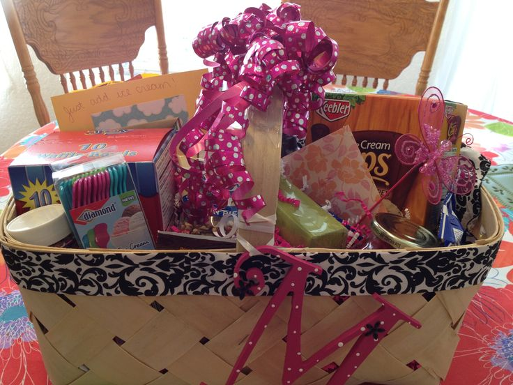 """Beautiful family gift idea - Ice cream sundae gift basket, lined, various ice cream toppings (syrups, chocolates, cookies, sprinkles), special ice cream spoons, napkins, waffle bowls, fudge dipped ice cream cones,  """"Just add ice cream"""" card with a grocery store gift card"""