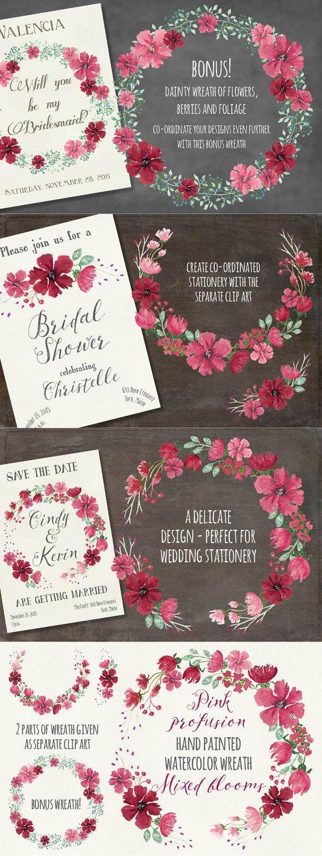 wedding invitation decoration clip art%0A Watercolor wreath  pink flowers