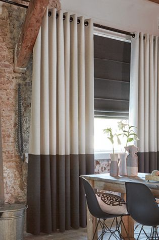 Gordijn op ringen met border onder | #Gordijnen #Curtains #Gardinen #Vorhänge  - Moodboard: Interior inspiration by our KOBE stylists #curtains #upholstery #fabrics #decoration #inspiration #nomad #wooninrichting #gordijnen #meubelstoffen #decoratie #interieur #raamdecoratie #inspiratie # www.onlinegordijn... # www.kunstvanwonen.nl # online # gordijnen