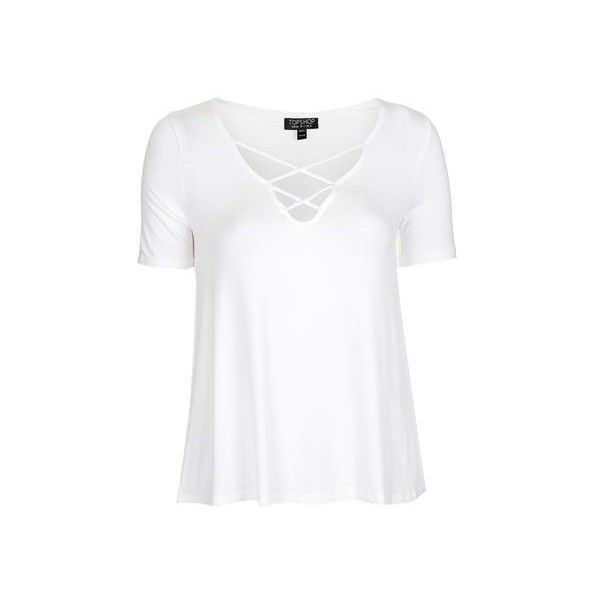 TopShop Cross Front Swing Tee ($26) ❤ liked on Polyvore featuring tops, t-shirts, white, viscose tops, white strappy top, topshop tops, white t shirt and rayon t shirts