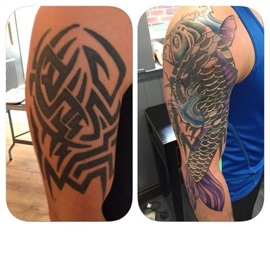 55 Cover Up Tattoos Impressive Before After Photos: Great Cover Up By Nathan Even Over This Terrible Tribal