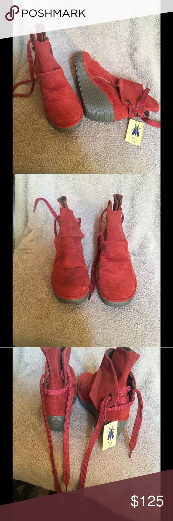 Fly London boots Beautiful rusty red boots Fly London Shoes Wedges
