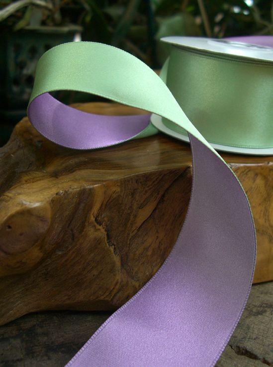 "Two Color Satin Ribbon  Mint Green  & Light Purple  1-1/2"" width  10 yards $6.59"