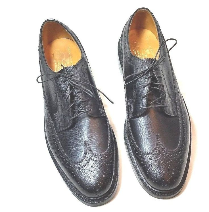 Florsheim Imperial Quality Black Leather Wing Tip Lace Mens Shoes Size 10 C #FlorsheimImperialQuality #WingTip #Formal