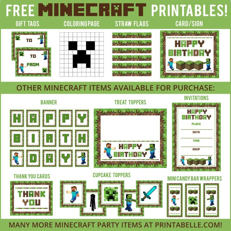 Free Minecraft Party Printables and more!