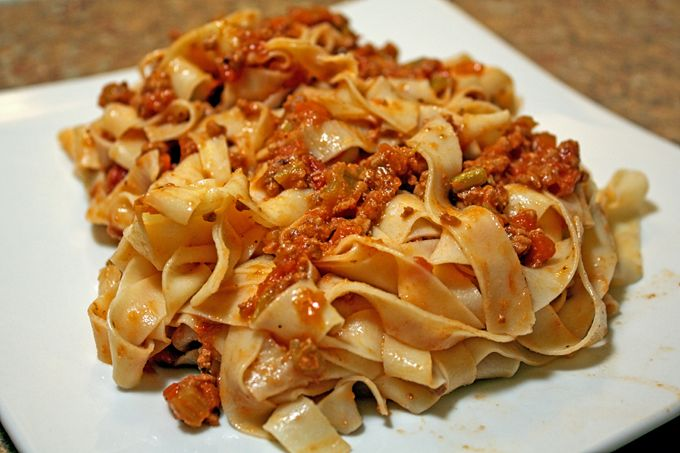 """When you go to your favorite Italian-American restaurant do you order Tagliatelle Bolognese? Do you get authentic """"Bolognese"""" as it's served in Italy and defined as """"Ragù alla Bolognese"""" according the Accademia Italiana della Cucina? Probably not.  Ragù Bolognese is a meat sauce originating in Bologna Italy. Preparing traditionalRagù alla Bolognese includes the sweating...Read More »"""