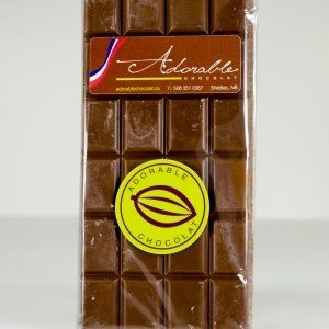 Adorable Milk Chocolate Bar, 100 grams - Unique handmade chocolate by French Chef, Frédéric Desclos. Shediac, New Brunswick. Available in gift baskets from BeenThereGifts.com