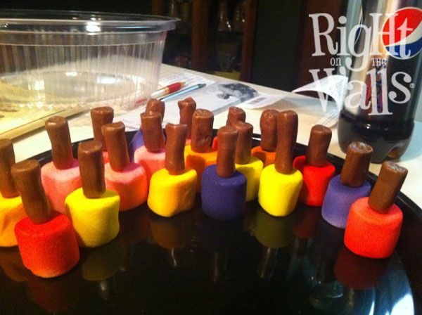 Tutorial for making multi-color nail polish cake treats
