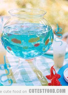fish bowl jello with Swedish fish, cute idea for a kids party!