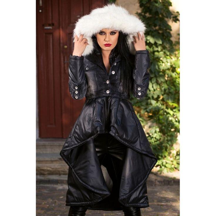 JACHETA DAMA THE SHOW MUST GO ON- BLACK ASIMETRICA DIN COLECTIA FOGGI REBELLION - Morelli Design