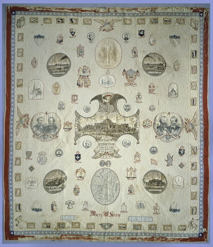 June 13, 1898: Mary Stow dies. She embroidered this patriotic quilt, which commemorates the 1876 Centennial in Philadelphia, a World's Fair.