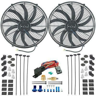 "Dual 16"" Inch Slim Electric Radiator Fans 1/2"" 3/8"" Threaded Thermostat Kit"