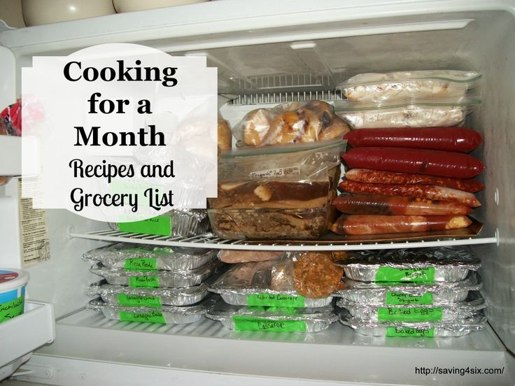 Cooking For A Month Recipes and Grocery List