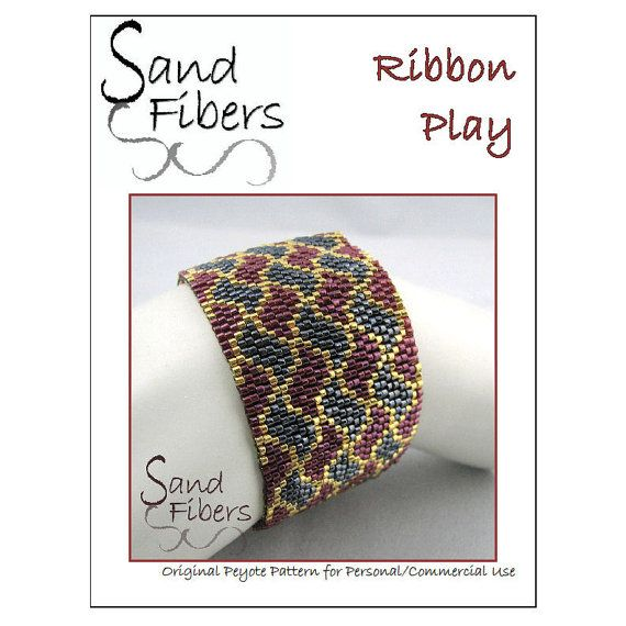 Peyote Pattern - Ribbon Play Peyote Cuff / Bracelet  - A Sand Fibers For Personal/Commercial Use PDF Pattern on Etsy, $10.00