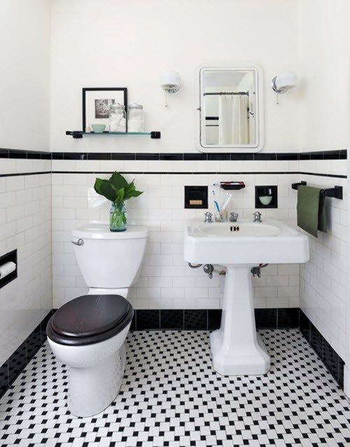 black and white bathroom                                                                                                                                                                                 More