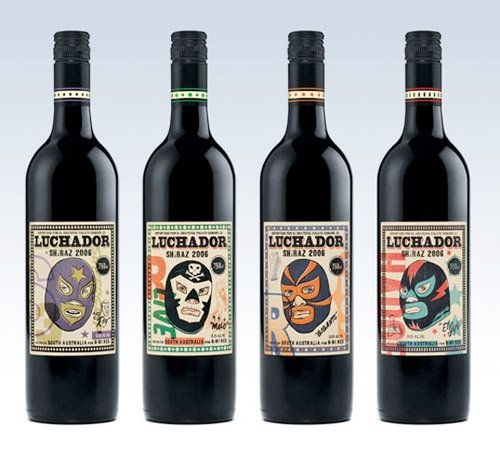 These are awesome! Super hero #vintage #wine labels >Luchador Wine Packaging By Morning Breath