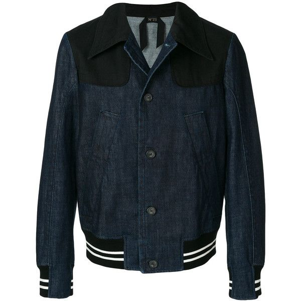 Nº21 bomber style denim jacket ($550) ❤ liked on Polyvore featuring men's fashion, men's clothing, men's outerwear, men's jackets, blue, mens sport jackets, mens blue sports jacket, mens denim sport jacket, mens blue jean jacket and mens oversized denim jacket