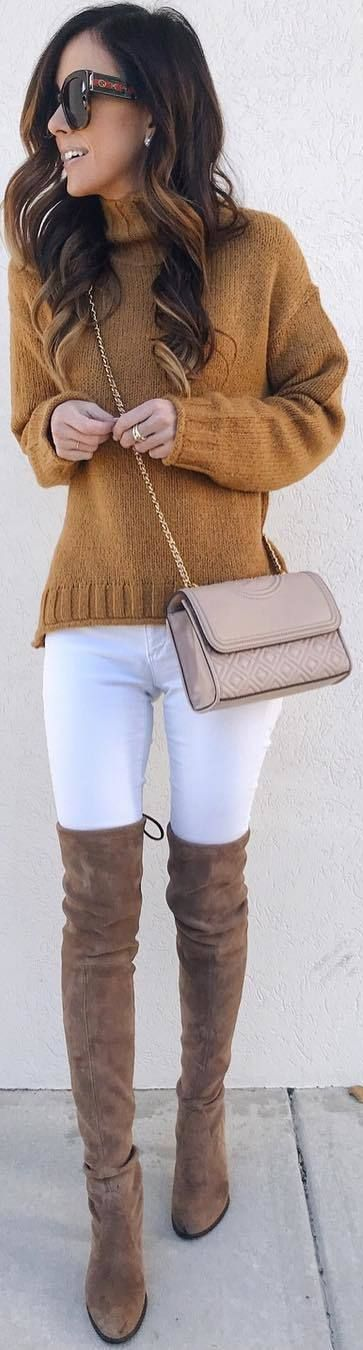 #winter #outfits mustard sweater, white jeans, brown long boots