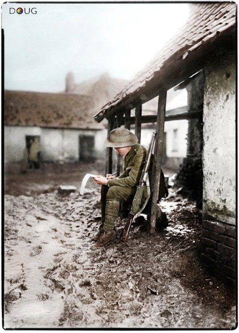 An Australian soldier writes home from his billet on the Somme front, 1916