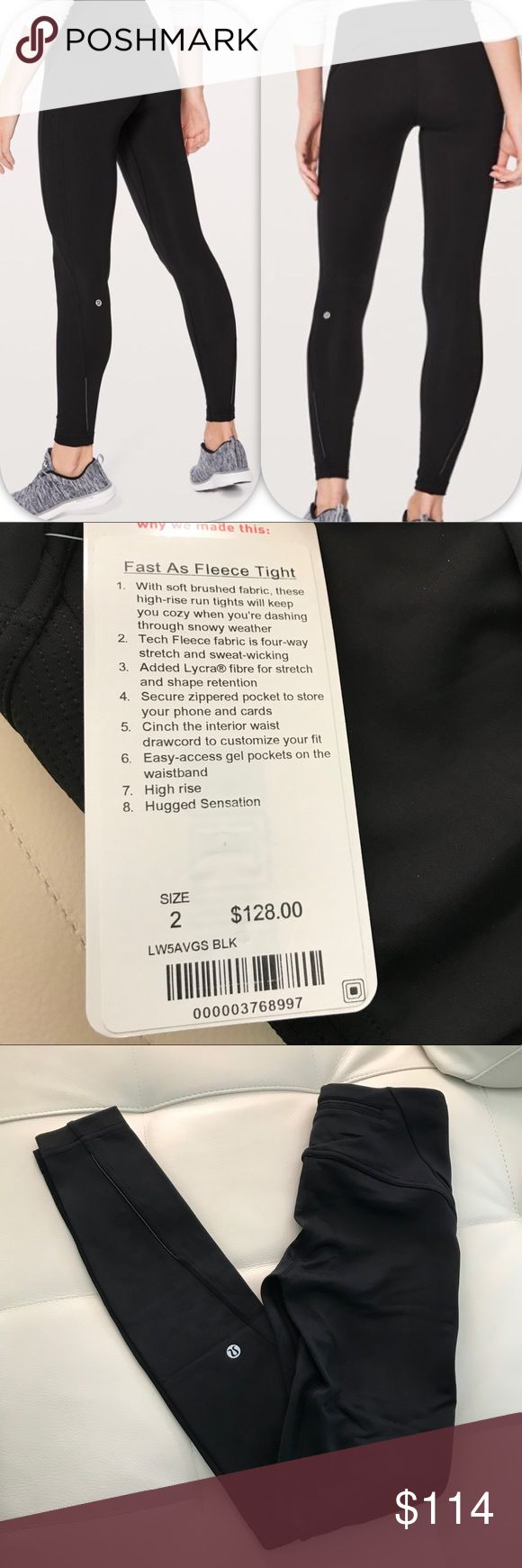 NWT BLACK LULULEMON FAST AS FLEECE TIGHT 2 or 4 Brand: Lululemon Athletica fast as fleece tight     Condition: New with tag || Size 2 or 4 || select your size  || BLACK BLK   📌NO  TRADES  🛑NO LOWBALL OFFERS  ⛔️NO RUDE COMMENTS  🚷NO MODELING  ☀️Please don't discuss prices in the comment box. Make a reasonable offer and I'll either counter, accept or decline. lululemon athletica Pants Leggings