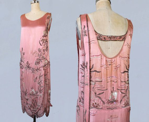 1920s Dress / Pink Satin 20s Flapper Dress / by GuermantesVintage