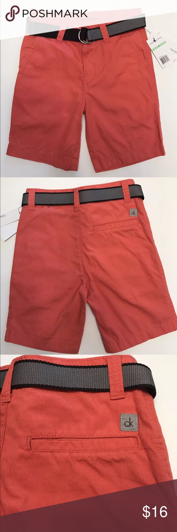 """Calvin Klein Boys Shorts Sz 8 Coral Sand NWT PRODUCT DESCRIPTION:  This pair's whisper-soft cotton fabric keeps cuties cool and comfy during playtime, while the adjustable belt cinches for a customized fit.  100% cotton  Machine wash; tumble dry  Imported  Calvin Klein Jeans size chart  Boys' Pants  SizeHeightWeightChestWaistHips  851-53""""60-69 lbs.27""""23.5""""29"""" Calvin Klein Bottoms Shorts"""