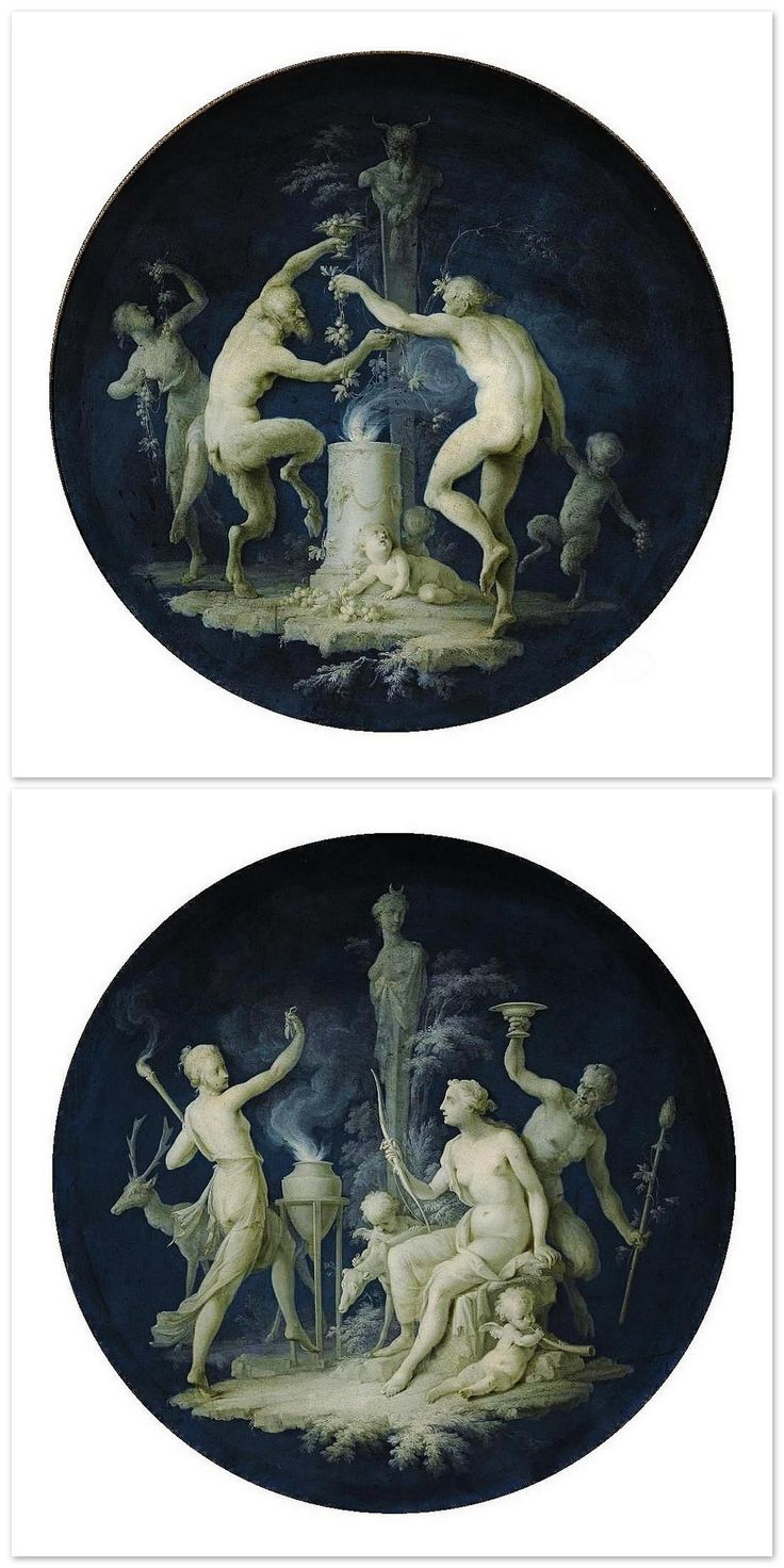 Dirk Van der Aa. (Dutch 1731-1809) | 1- Satyrs and Fauns Dancing before a Shrine, oil/canvas. | 2- Diana in a Landscape with Attributes of Hunting and Dancing Figures, oil/canvas.