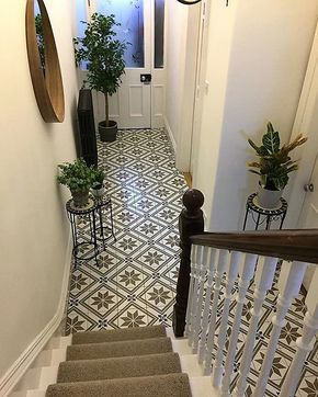Staircase with tiled floor hallway entry way - Victorian terrace on www.lovetohome.co.uk - photo credit with permission from Claire via @houseofharwoodandrose on Instagram