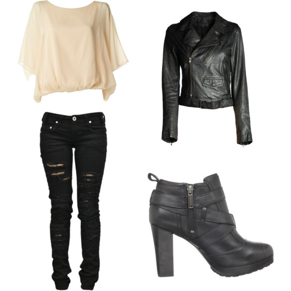 I love my leather jackets!! This would be perfect to go riding in, especially with the HD boots!! created on polyvore