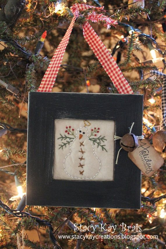 Handmade primitive snowman christmas ornament holiday for Country christmas craft show