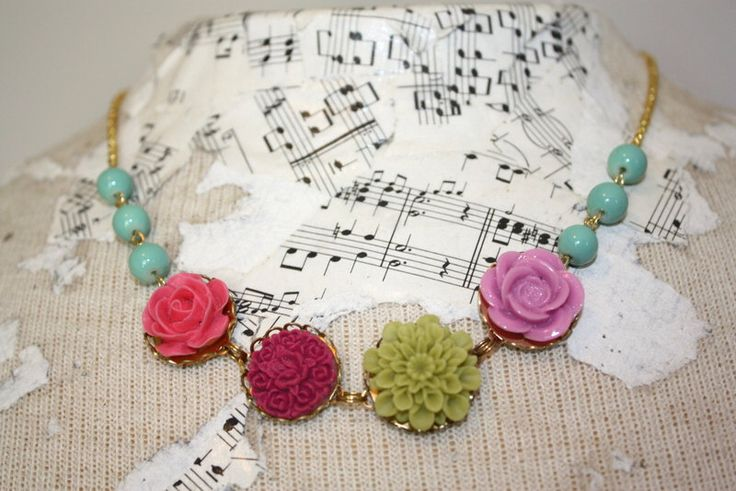 Bright necklace, Flower and bead necklace,aqua and red necklace, aqua, lilac, olive green, pink resin flower necklace by thepaisleymoon on Etsy https://www.etsy.com/listing/238050097/bright-necklace-flower-and-bead