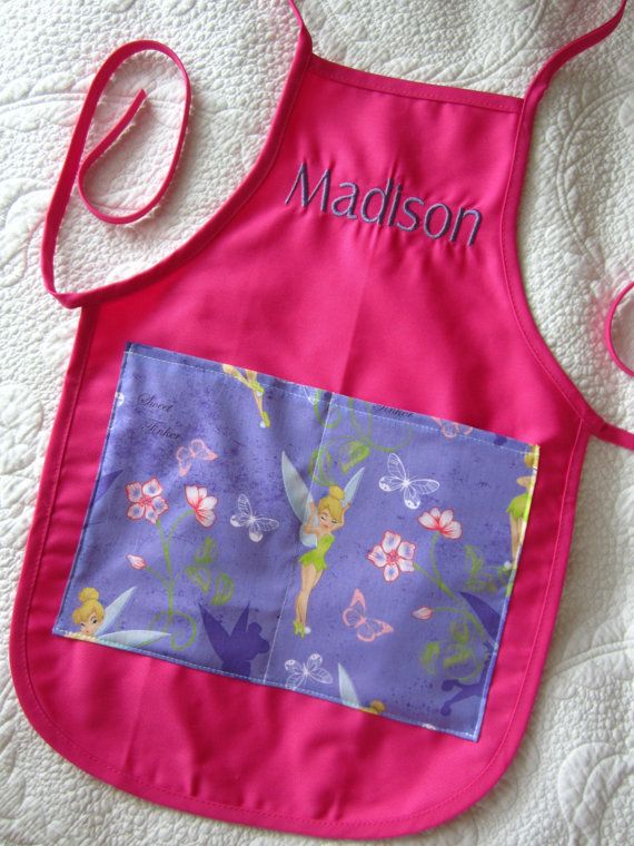 monogrammed tinkerbell kids apron
