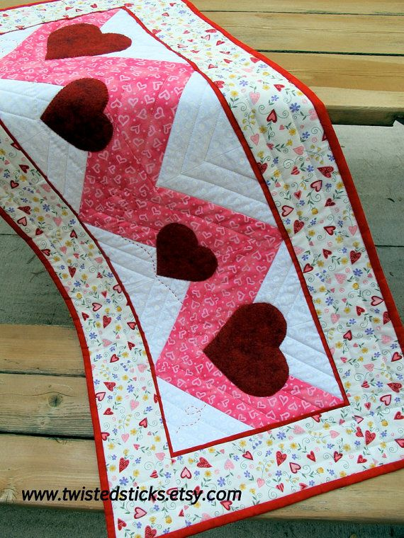 Quilted TABLE RUNNER, wool applique table runner pink white red. $48.00, via Etsy.
