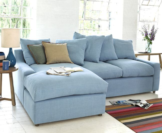 "Our Cloud chaise sofa is super cool and snug as a bug. With feather-filled ""box edge"" cushions this sofa is as comfy as they come."